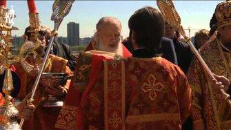 Патриарх Кирилл совершил Литургию на Поклонной горе